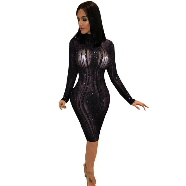 2fb0e76750b6 Sheer Mesh Sequins Bodycon Pencil Club Dresses Turtleneck Long Sleeve  Bandage Midi Party Dress Women Autumn Winter Outfits