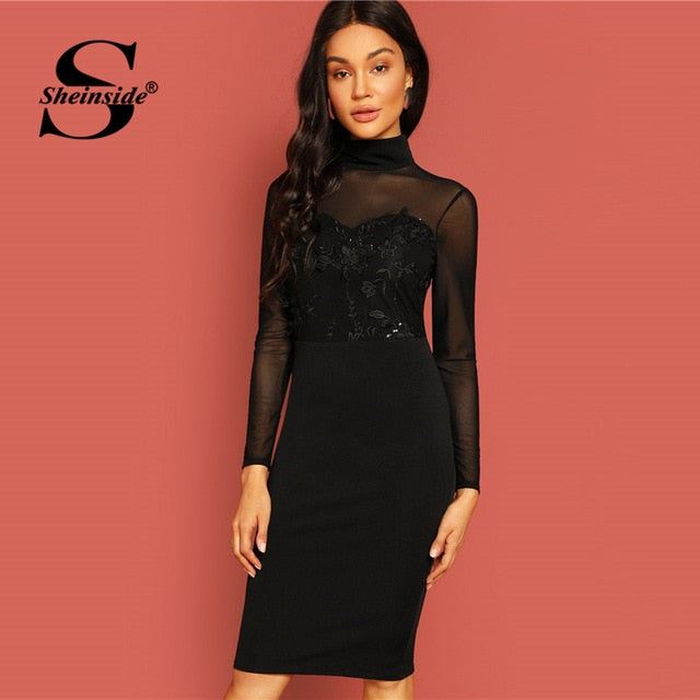 109639c752838 Black High Neck Embroidered Mesh Pencil Party Dress Women Spring Back Sheer  Bodycon Dresses Solid Midi