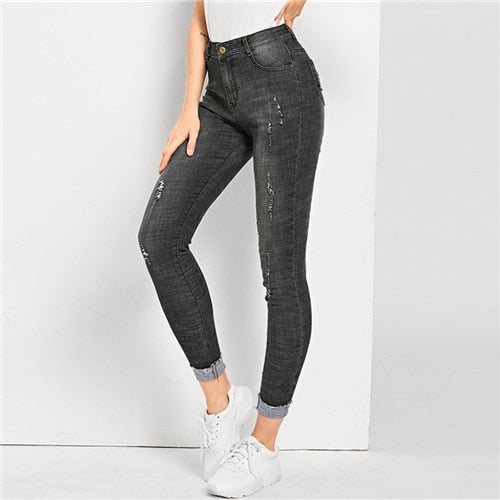 bfb564354d7 Black Ripped Faded Wash Skinny Pants Women Mid Waist Stretchy Tapered Jeans  2019 Ladies Spring Casual Denim Trousers