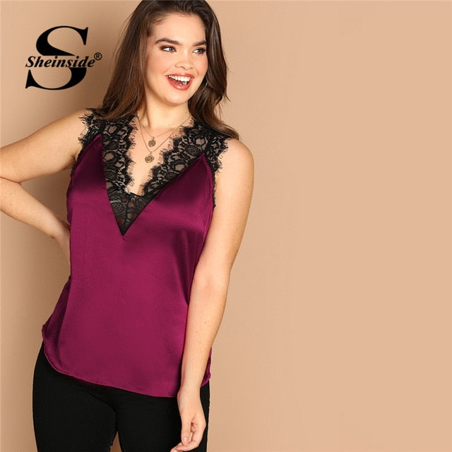 fc758f7c03 Plus Size Lace Trim Double V Neck Satin Top Tanks & Camis 2019 Summer Lady  Vest Sleeveless Women Tank Tops