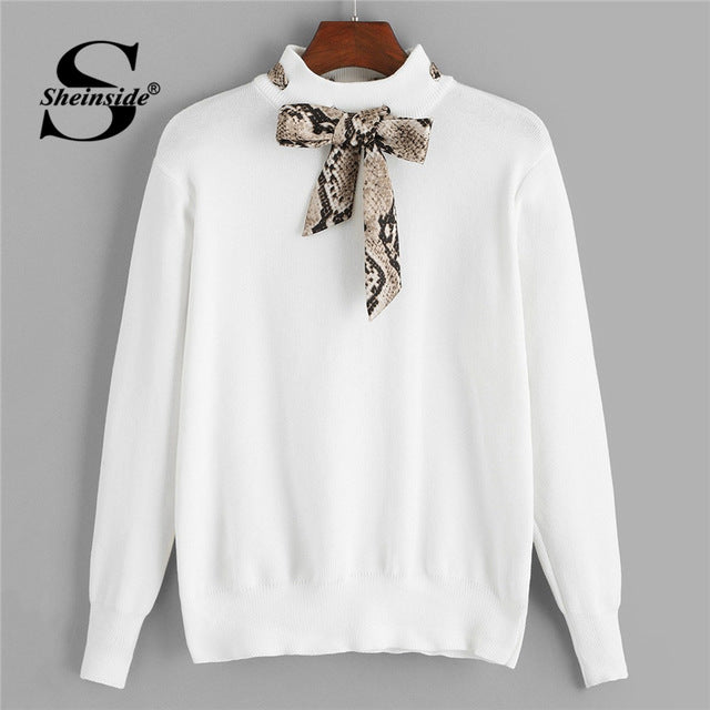 fcf2bd2dba42cb Turtleneck White Sweater Women Jumper Fall Winter Tops S Knitted Sweaters Snake  Print Tie Neck Solid Pullover