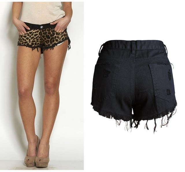 c4066705010 2018 Women Denim Shorts Leopard Print Women Mini Shorts Plus Size 4Xl  Summer Shorts Women Shorts Black