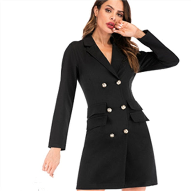 Spring Autumn Women\'S Blazers Dress Plus Size Slim Outwears Long-Sleeved  Solid Color Suits Dress Suits A-004