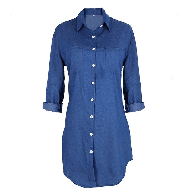 7998df04aaa Summer Autumn Women Jean Long Sleeve Loose Denim Mini Dress Vestidos Casual  Long Party Dresses