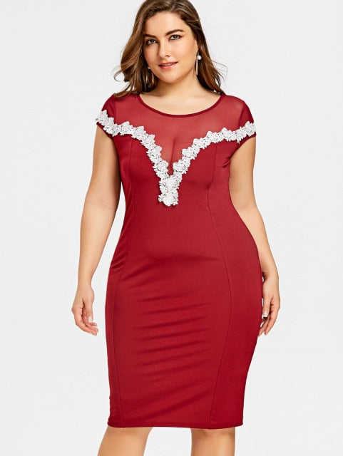 e6c7b7521b7 Summer Bodycon Dress Plus Size Sheer Lace Appliqued Pencil Dress Vestidos  2019 Women Party Dresses Xl