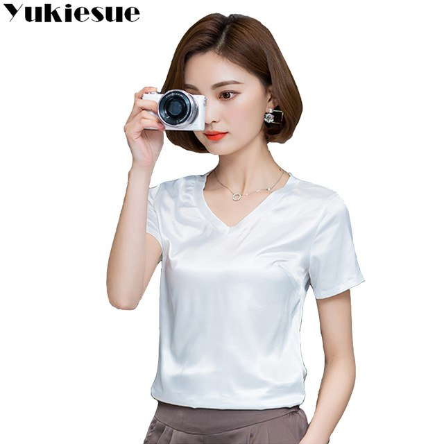 140d9ddc2db ... Women s Tops · Work Dresses · Summer T Shirt Loose Silk Chiffon Tops  Tees Short Sleeve Solid V Neck Casual T-
