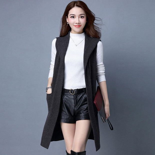 6a49f8192 Sweater Knitted Vest Women Autumn Hooded Sleeveless Thicken Cardigan Women  Jacket Sueter Mujer Plus Size Knitwear Vest C4886