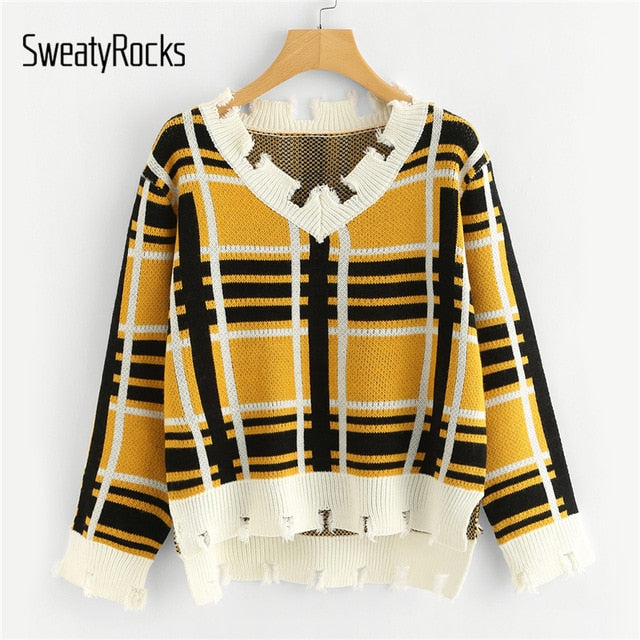 ef1bbf2aabb815 Autumn Sweater Women Long Sleeve Pullover Basic Sweaters Knit Casual Crop  Tops Plaid Edge High Low
