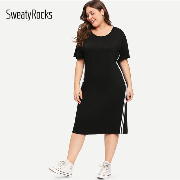 Black Plus Size Dress Women Striped Side Summer Dress 2018 Clothes Casual  Shirt Dresses Short Sleeve Midi Dress
