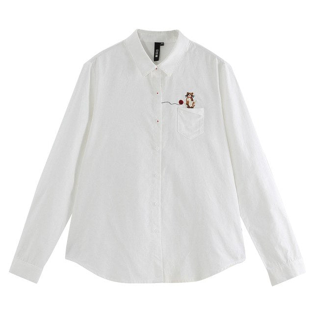 3eccec24a 2019 Spring Women Blouse Casual Cat Logo Embroidery Long Sleeve Turn-Down  Collar Shirt Vintage White Blouses