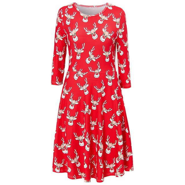 Ugly Christmas Dress Large Size Winter Women Casual Cute Printed ...