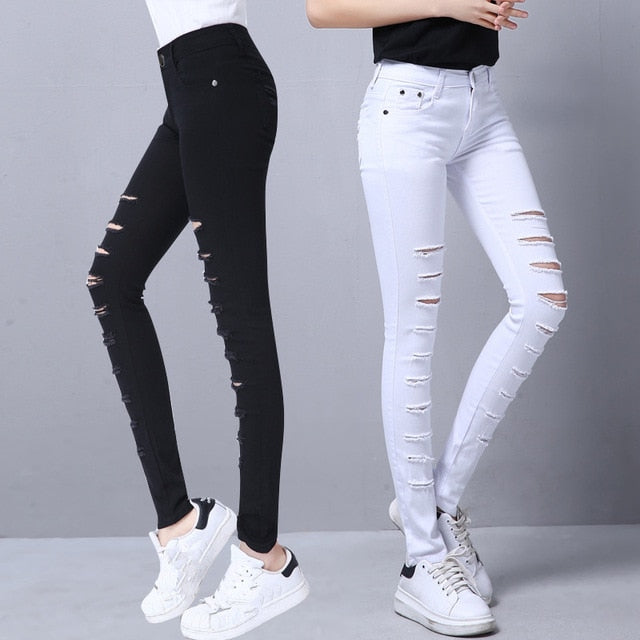603a81917 Visnxgi Women Skinny Jeans Denim Pants Holes Destroyed Knee Pencil Pants  Casual Trousers Black White Stretch Ripped Jeans