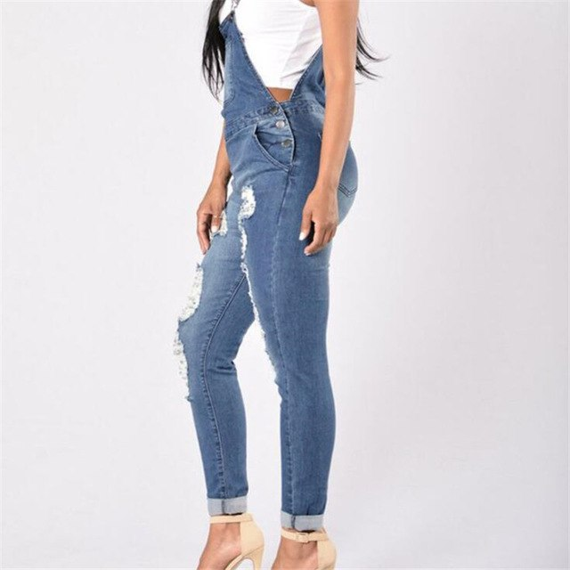 845aa585198 Visnxgi Women Denim Jumpsuit Ladies Hollow Out Jeans Rompers Casual Plus  Size Hole Denim Overall Playsuit With Pocket