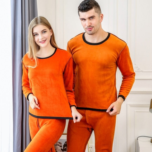 c75e908a36be4a Velvet Thick Thermal Underwear Sets Male Long Johns Thermo Underwears  Winter Men Women Warm Layered Clothing Pajamas Thermos