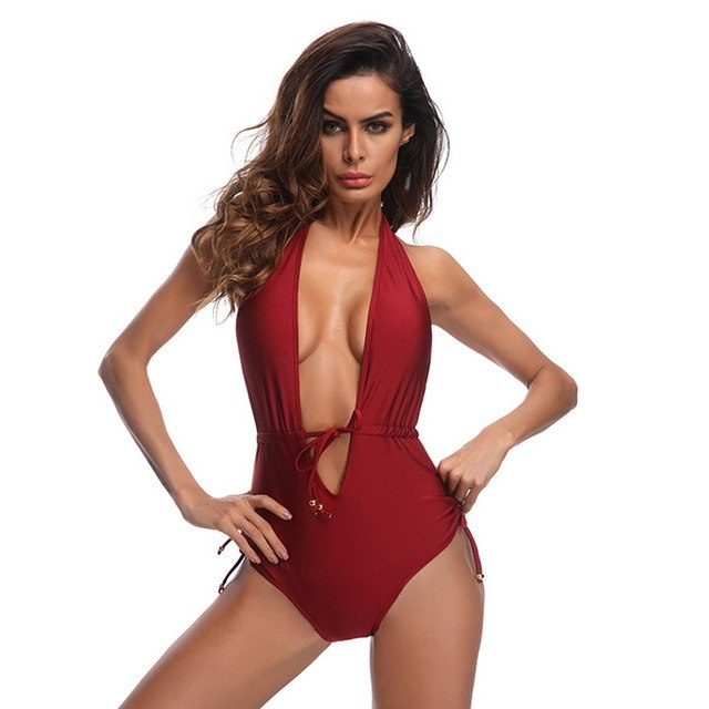 74870e07bf8 2019 Solid One Piece Suit Women Deep V Swimsuit Bandage Push Up Bikini  Summer Beach Swimwear Backless Biquini