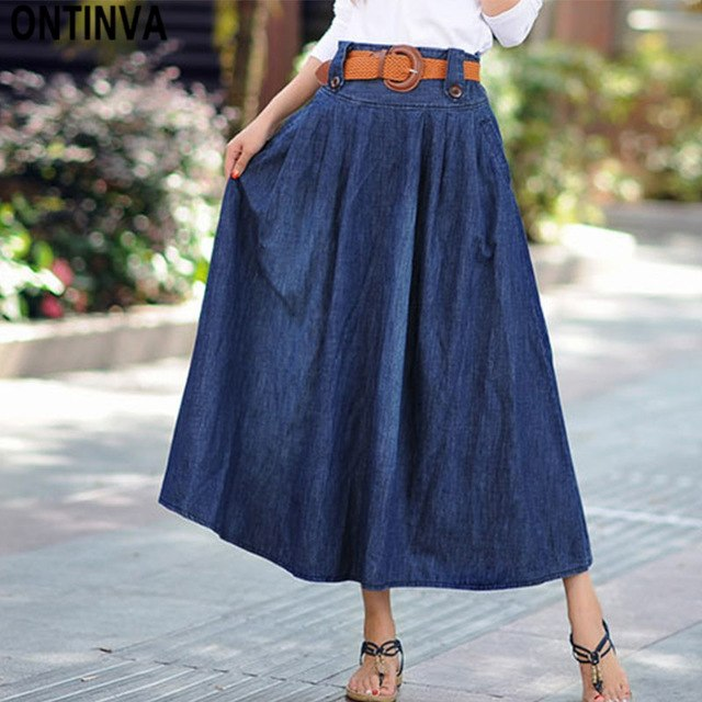 81e91a881c Vintage Elastic Waist Long Pleated Denim Skirts 2019 Ladies High Waisted  Plus Size Fashions 6Xl