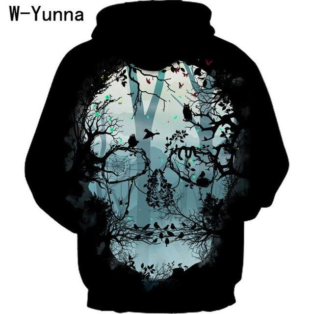 0c3114dc76a9 Forest Skull Print Black Hoodie Women Ladies Autumn Plus Size Hooded  Sweatshirts Long Sleeve Casual Moletom
