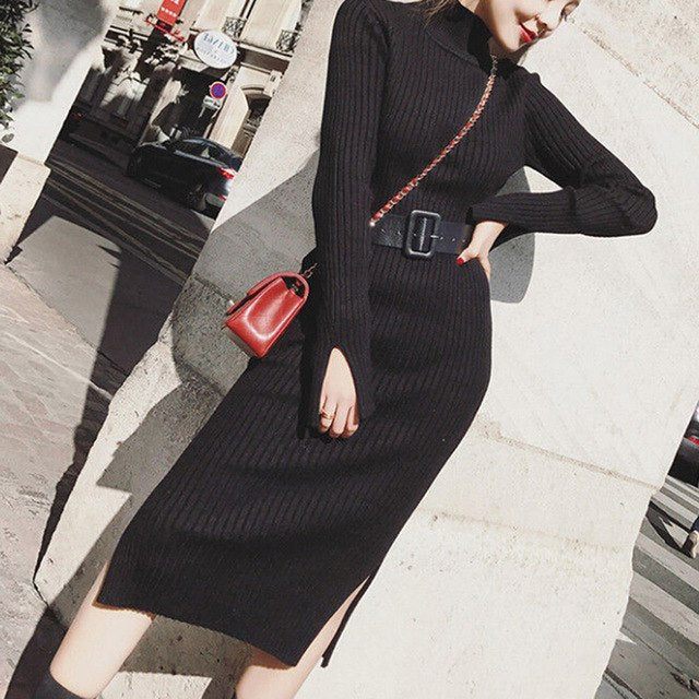 6ee38f4c011 Warm Charm Women Split Side Sweater Dress Fall Winter Long Lurex Bodycon  Dresses With Belt Skinny