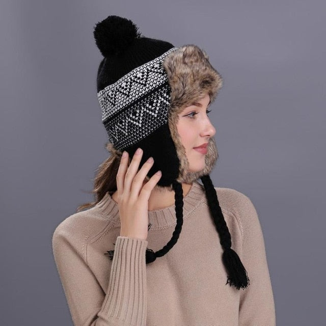 dcdf118723f26 Warm Women Winter Hat With Ear Flaps Snow Ski Thick Knit Wool Beanie Cap Hat