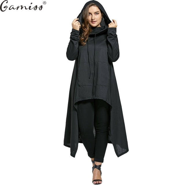 22a6d950d Plus Size Maxi Hoodie Sweatshirt Women Casual Outwear Hoody Loose Long  Sleeve Mantle Hooded Cover Pullover