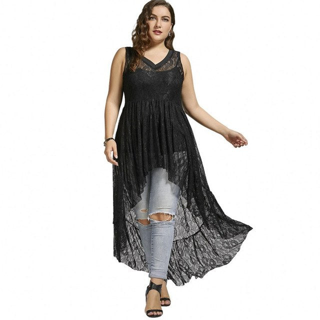 50130f4c030db 2019 Autumn Plus Size Tops High Low See Through Lace Long Tops V Neck  Sleeveless Flower