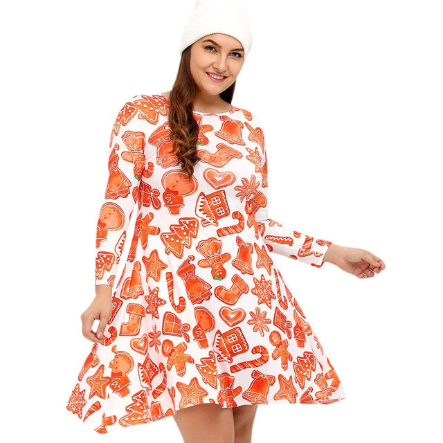 15662ca8 Autumn Winter Plus Size L-4Xl Dress Women 3/4 Length Sleeves Christmas Print