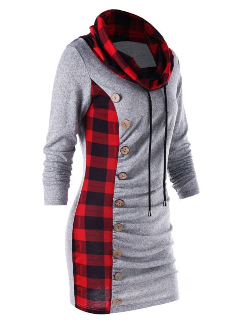 9015a8b404b Buttons Plaid Trim Drawstring Tunic Sweatshirt Dress Casual Sheath Cowl  Neck Long Sleeve Dress Winter Fall