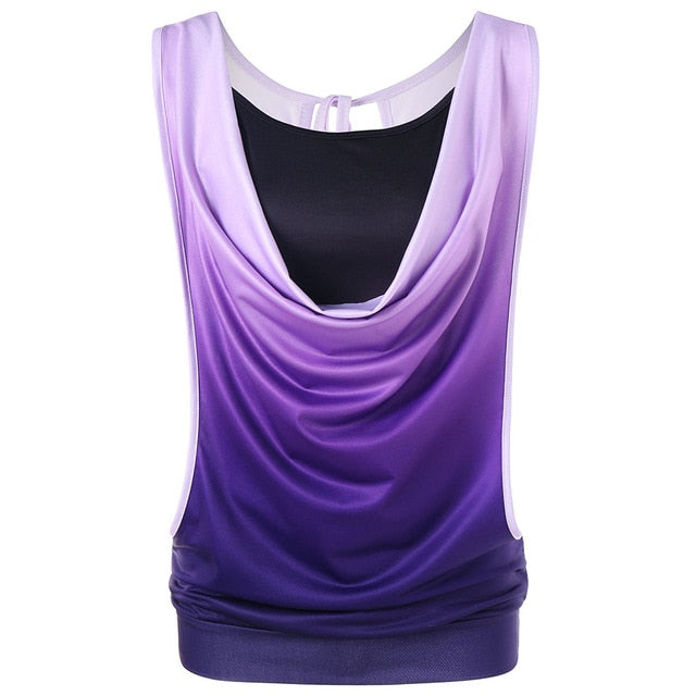 bb438bf1942 Ombre Cut Out Two Piece Tank Top Plus Size Printed Tank Top Summer Tops  2018 Causal