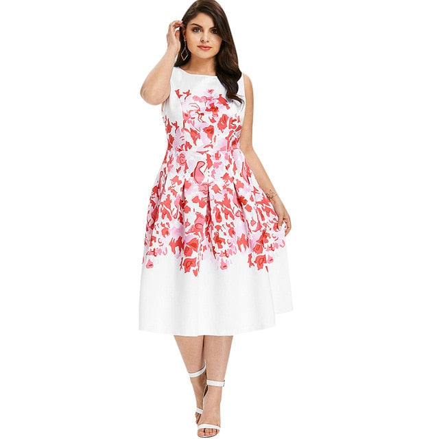 bcf3563d576 Plus Size 5Xl Print Sleeveless A Line Dress Women O Neck Casual Midi Flare  A Line
