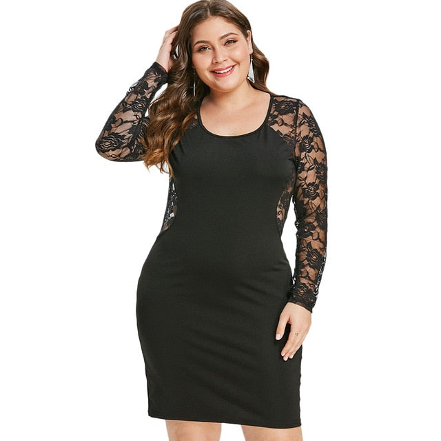 f5b1e27c757fb6 Plus Size 5Xl Sheer Floral Lace Insert Bodycon Dress O Neck Long Sleeve See  Through Back