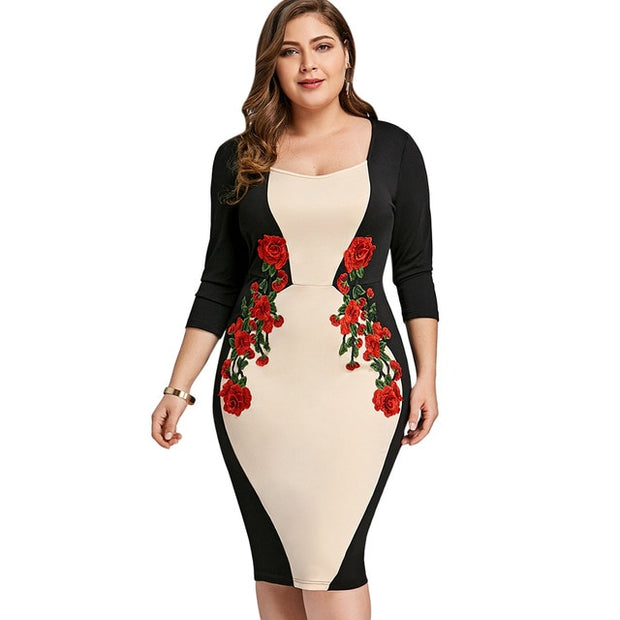 Wipalo Plus Size Color Block Embroidered Bodycon Dress Embroidery Party  Dress Plus Size 3/4 Sleeve Keen Length Dress 5Xl
