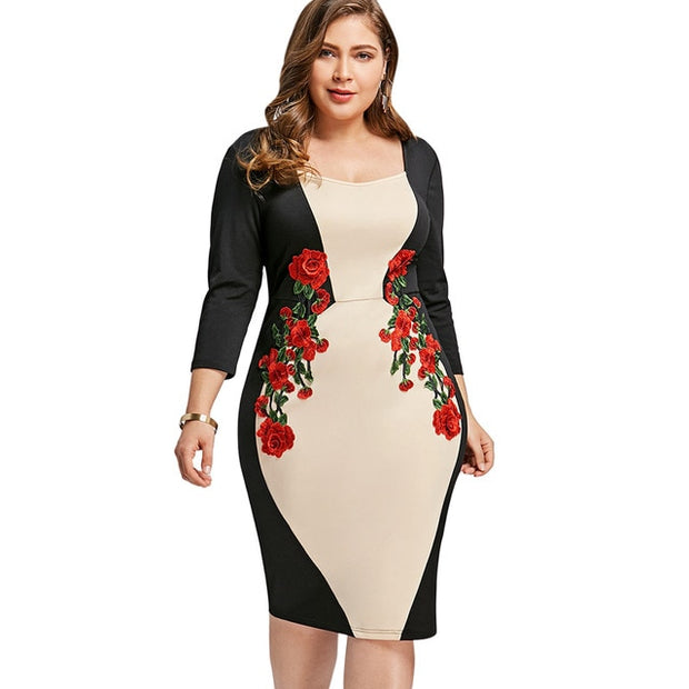 Wipalo Plus Size Color Block Embroidered Bodycon Dress ...