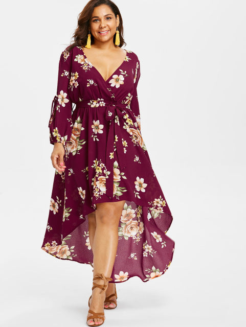 Plus Size Deep V-Neck Slit Sleeve Floral Maxi Dress Back Cut Out Surplice  High Low Dress Floor Length Casual Dress 5Xl