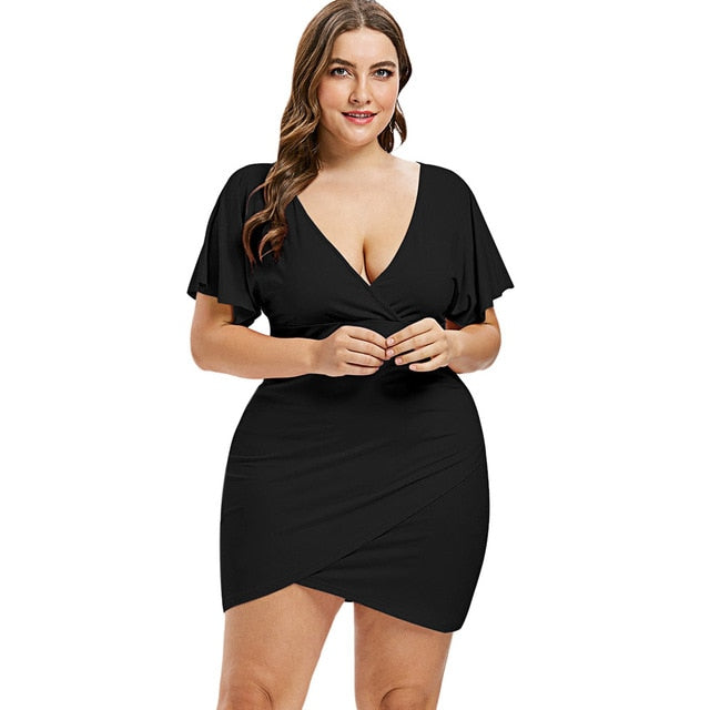 6b8609762ce2 Plus Size Flare Sleeve Overlap Deep V Neck Bodycon Club Dresses Robe Femme  2018 Mini Fitted