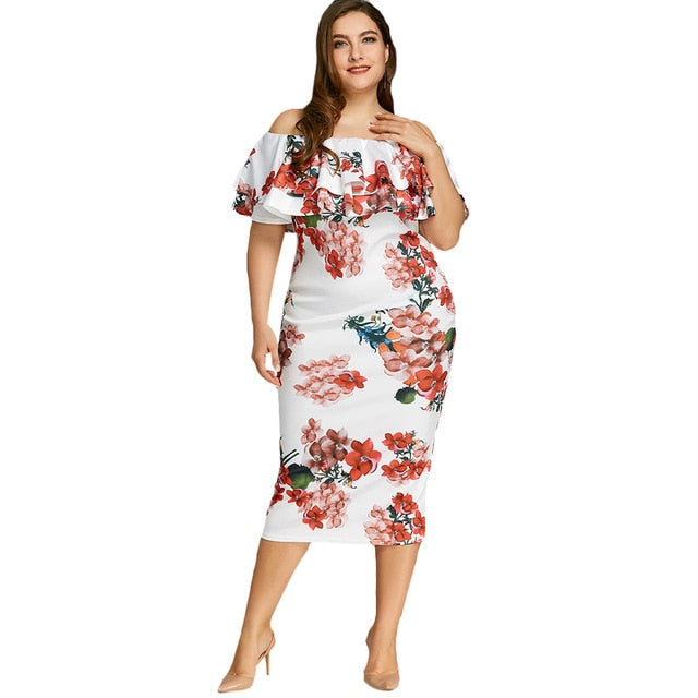 4c6a802da22 Plus Size Floral Print Ruffle Dress Sheath Women S Flower Slash Neck Ruffle  Casual Dress Plus Size
