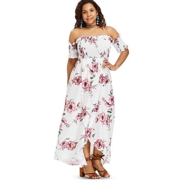 Plus Size Flower Empire Waist Maxi Dress Asymmetrical Tulip Off Shoulder  Floor-Length Bohemian Dress Big Size Vestidos