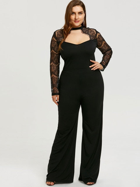 8068bdcce12 Plus Size Lace Sleeve Cut Out Jumpsuit Women Wide Leg Jumpsuit Hollow Out  High Waist Zipper