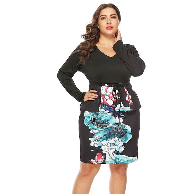 3bd5f0714a93 Plus Size V-Neck Long Sleeve Lotus Print Semi-Formal Dress Casual Knee  Length Ol Dress Partly Dress 5Xl Vestidos