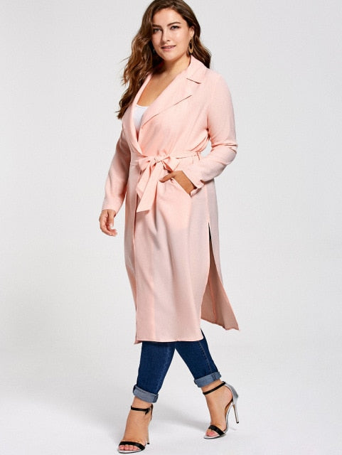 fc7e0a64a09 Spring Autumn Plus Size Tie Belt Trench Coat Overcoats Long Sleeve  Turn-Down Collar Women S