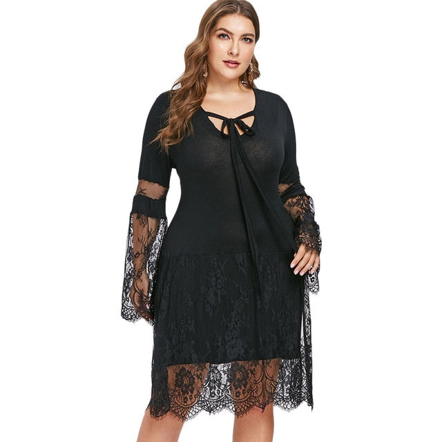 Spring Women Plus Size Self Tie Lace Eyelash Casual Dress Long Sleeves Knee  Length Solid Bodycon afd0f74f9c37