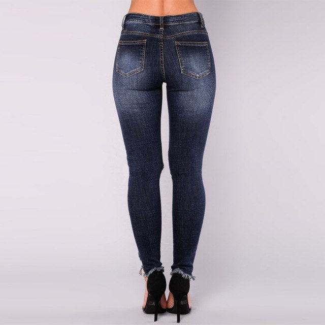 242491745bb Women High Waisted Skinny Destroyed Ripped Hole Plus Size Jeans Causl  Ladies Denim Trousers Long Stretch