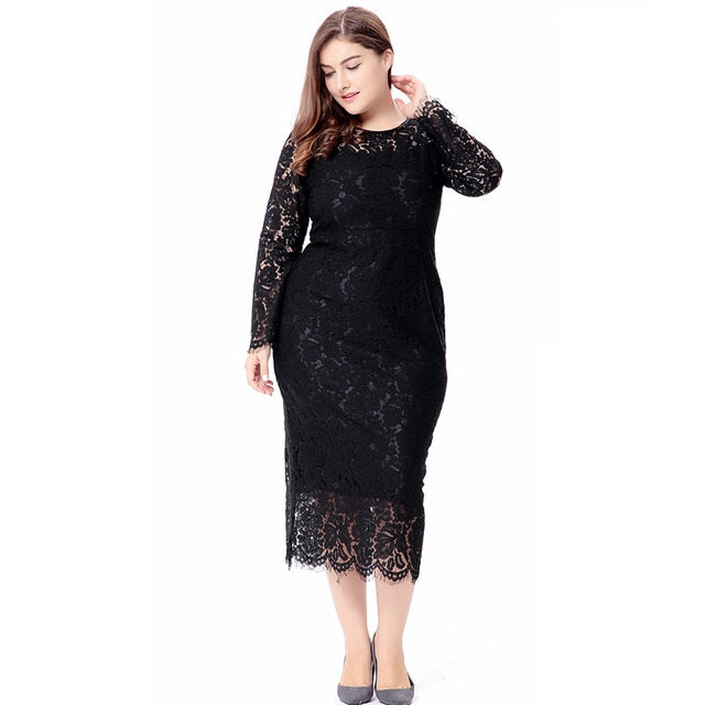 Women Plus Size 6Xl Bodycon Lace Dress Spring Solid Long Sleeve Mid-Calf  Sheath Formal b2cba0d514a7