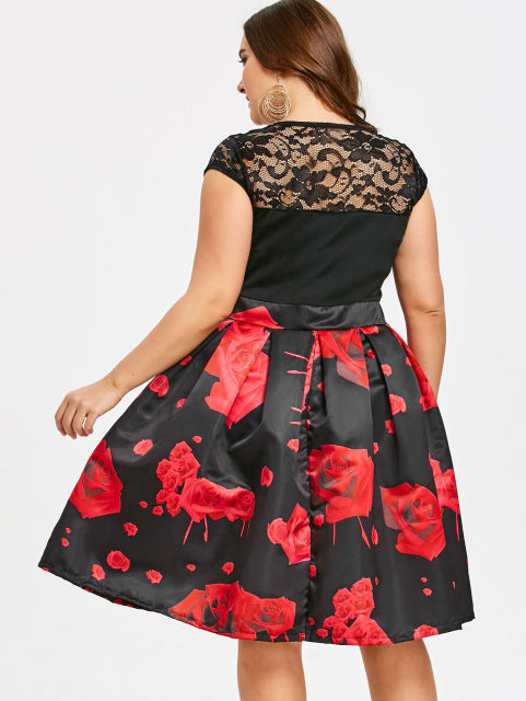 4df87a80e87 Women Vintage Party Dress 2018 Summer Short Sleeve High Waisted Plus Size  Roses Dress Vestidos Ladies