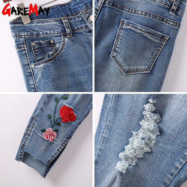 68d24dd69 Woman Embroidered Stretch Jeans With Holes Denim Pants Slim Capris  Destroyed Embroidery Ripped Jeans Clothing Spring