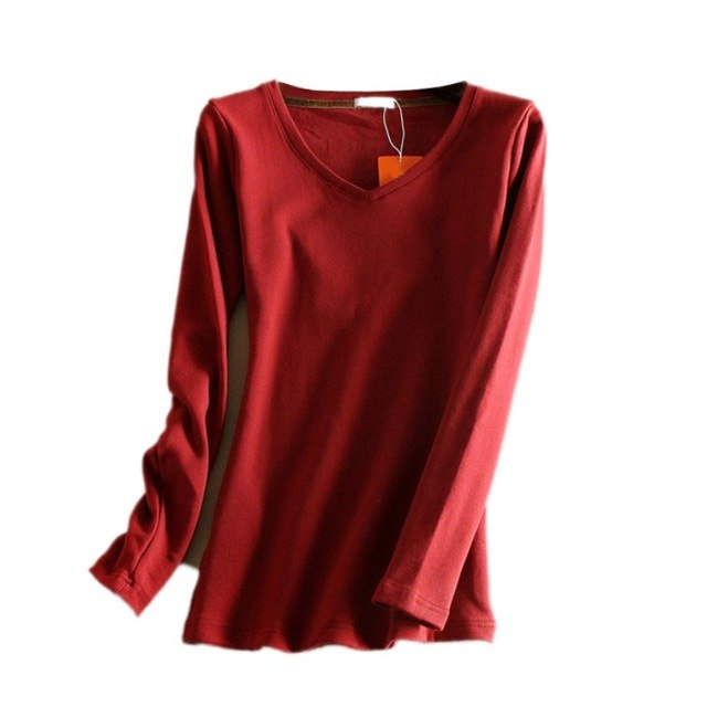 ed6a95b8adc Women Autumn Winter Plus Size V-Neck Slim Breathable Cotton Plus Velvet  Thickening Long Sleeve