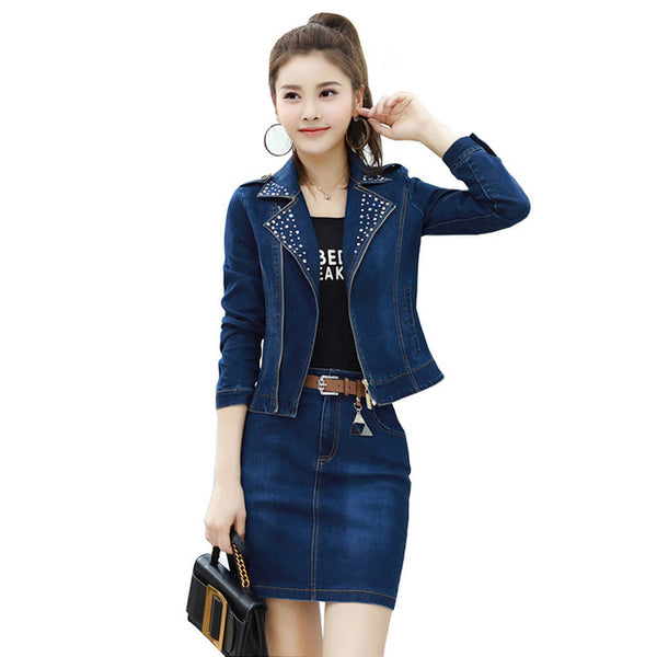 5fbeae726b Women Denim Jacket Skirt Suit Fall Long Sleeve Casual Outfits 2 Piece - Hdy  Apparel