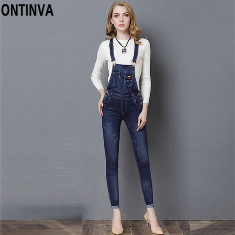 0dcd4492836d ... Women Denim Jeans Overalls Jumpsuits Summer Slim Ripped Rompers 2018  Casual Vintage Adjustable Strap Cuffs Pants