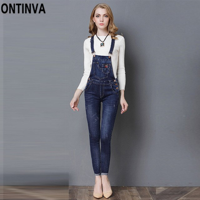 ad134d1139e4 Women Denim Jeans Overalls Jumpsuits Summer Slim Ripped Rompers 2018 Casual  Vintage Adjustable Strap Cuffs Pants
