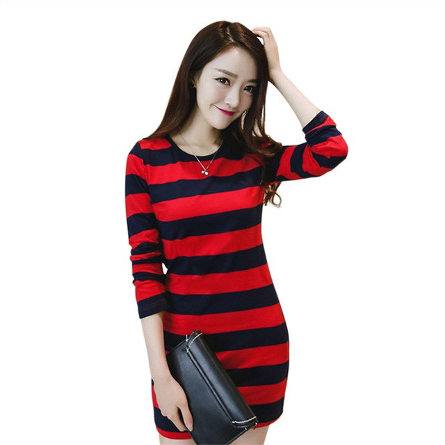Women Dress Striped Pullover Dress O Neck Plus Size Loose Pattern Dress  Spring Autumn Long Sleeve 03760cefea10