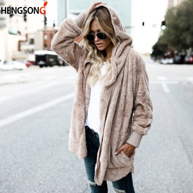 b222c3a2f9ac Women Jacket Autumn Winter Warm Plush Cardigan Women Long Coat Female Long  Sleeve Cardigan Outerwear Women's